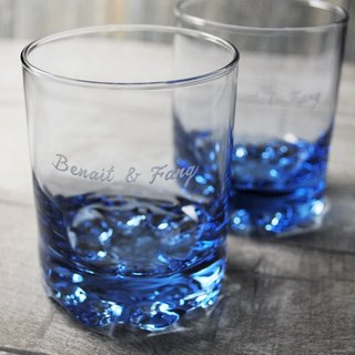 220cc (a pair of price) [MSA lettering whiskey cup] deep sea blue Italian wedding gift