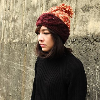 Handmade Hand Knit Wool Beanie Hat with Pompom