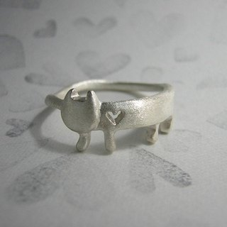 miaow that lost his heart ( cat heart sterling silver ring 貓 猫 心 指杯 銀 )