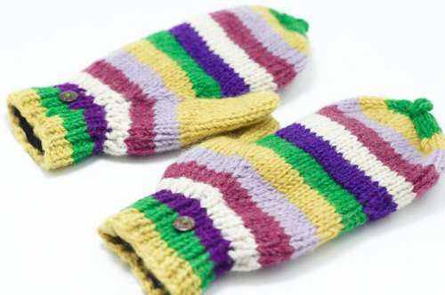 Valentine's Day gift / limited a hand-woven pure wool knit gloves / detachable gloves (made in nepal) - colorful stripes color