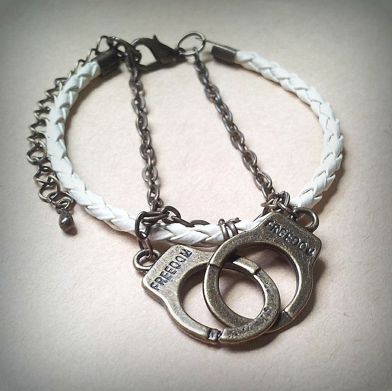 Near you handcuffed you | imitation silver | handcuffs | braided leather bracelet