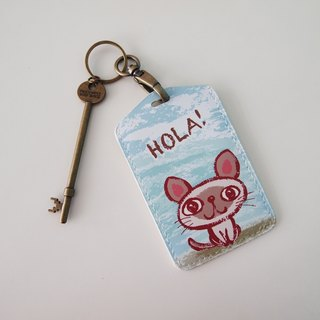 Multifunction card sleeve key ring -Hola! Kitten