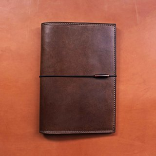 【MUJI A5 Page 30 VULCAN Note】 Italian A grade thin wax vegetable tanned leather notebook can be optional multi-color stamping services can be made without a band