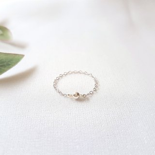 Small wave lines silver ball chain ring