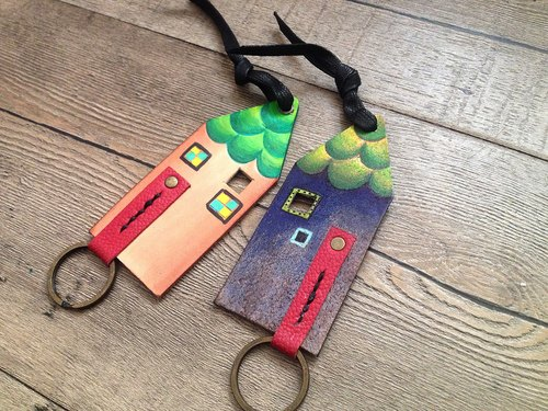 POPO│ original Hans Christian Andersen's house │. │ painted leather key ring