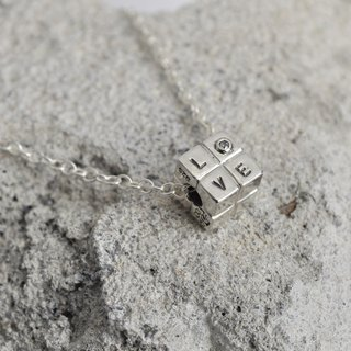 just LOVE square necklace sterling silver