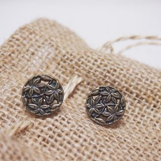 Button New Life [grass] retro earrings