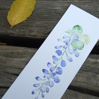 Chinese wisteria - hand-painted watercolor bookmark (original)