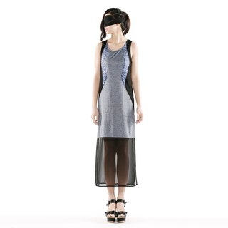 [Dress] arc stitching long ocean < blue / black and gray color strip x 2 >