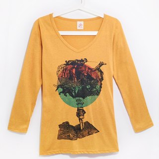 Feel cotton long-sleeved T-shirt / Travel T - Lonely Planet (blending yellow)