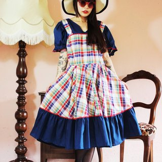 F1028 (Vintage) dark blue color plaid big wave skirt short-sleeved vintage dress (wedding / picnic / party)