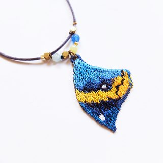 Embroidery Wings Necklace / Dead Leaf Butterfly ( Kallima Inachus )