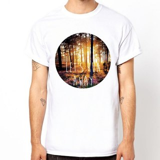 LET'S RUN AWAY-Forest short-sleeved T-shirt - white flower floral forest natural design own brand fashion circle triangle