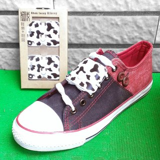 """Animal Print basic models"" show + shoe laces - dairy cow pattern ""Snow White"""