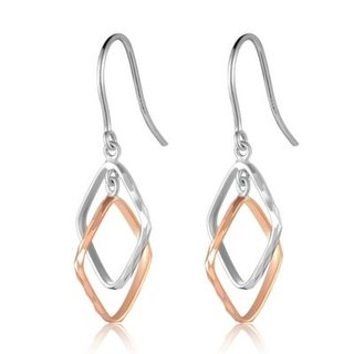 Hong Kong Design 14K / 585 Red White Gold net gold hanging earrings