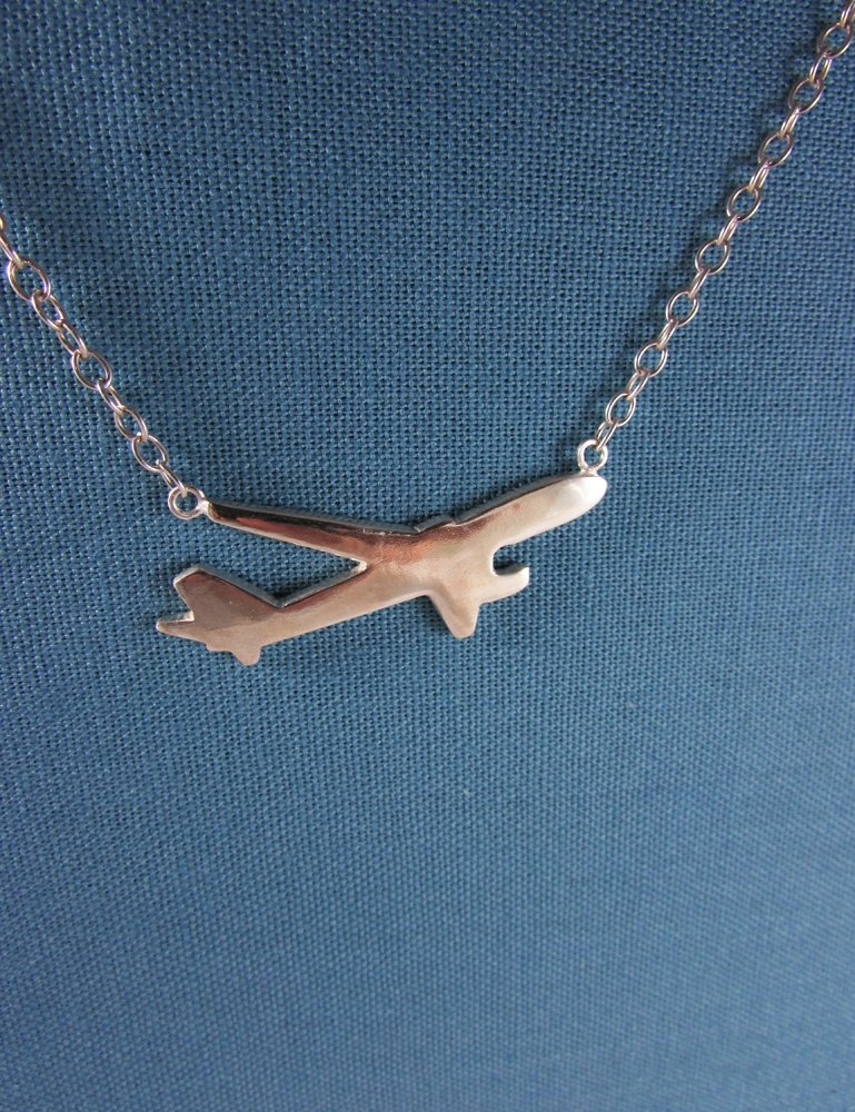 Mittag [NL351] plane Airplane Necklace Designer Handmade Sterling Silver Necklace - With Brand Wood Jewelry Box, Silver Gloss... Override Free Shipping