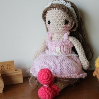 Amigurumi crochet doll: Pink Short Knitting Dinner Dress Doll, Pink Puff skirt, Brown Hair
