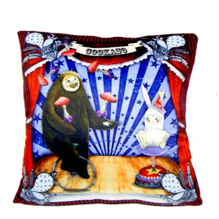 """Gookaso"" Bear M & sister CIRCUS circus cartoon rabbit pillow 45x45cm printing original design"