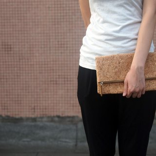 Cork Fold clutch, folded clutch, cosmetic bag, make up bag, zipper clutch, foldover, pencil pouch, Purse, Foldover Bag