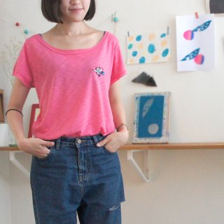 ✭hello my world without trimming wide collar pink embroidered t-shirt (pattern may optionally :))