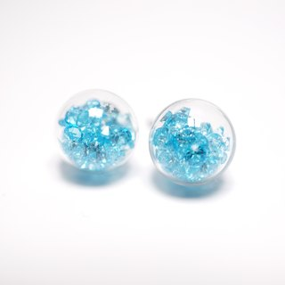 A Handmade glass ball earrings crystal blue lake
