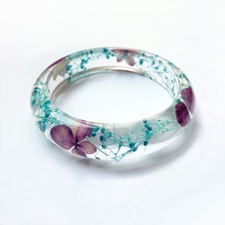 Purple Hydrangea blue gypsum Epoxy bracelet