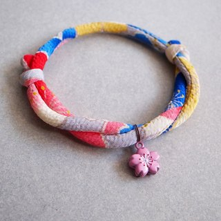 Japanese kimono dog collar & cat collar【Adjustable】AkaAo_S size