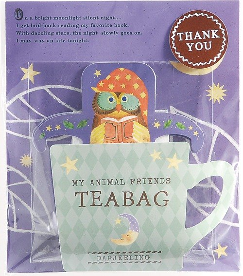 [Japanese TOWA black tea] THANK YOU series cute animal hanging black tea bag - Darjeeling taste (owl)