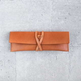 Light Orange Leather Pencil Case/Pen Pouch/ Sunglasses Case