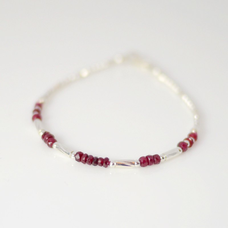【ColorDay】 Galaxy Series ~ Red Corundum (ruby) _Corundum_925 sterling silver bracelet