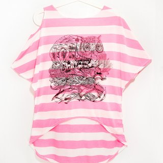 Women feel unilateral strapless striped travel T / T-shirt - to Lanyu, travel (phosphor)!