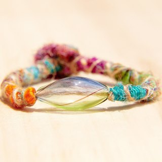 / Valentines Day gifts / customized hand-twisted colored sari ethnic hand rope line - colored mouth-blown glass (Marine and grassland)