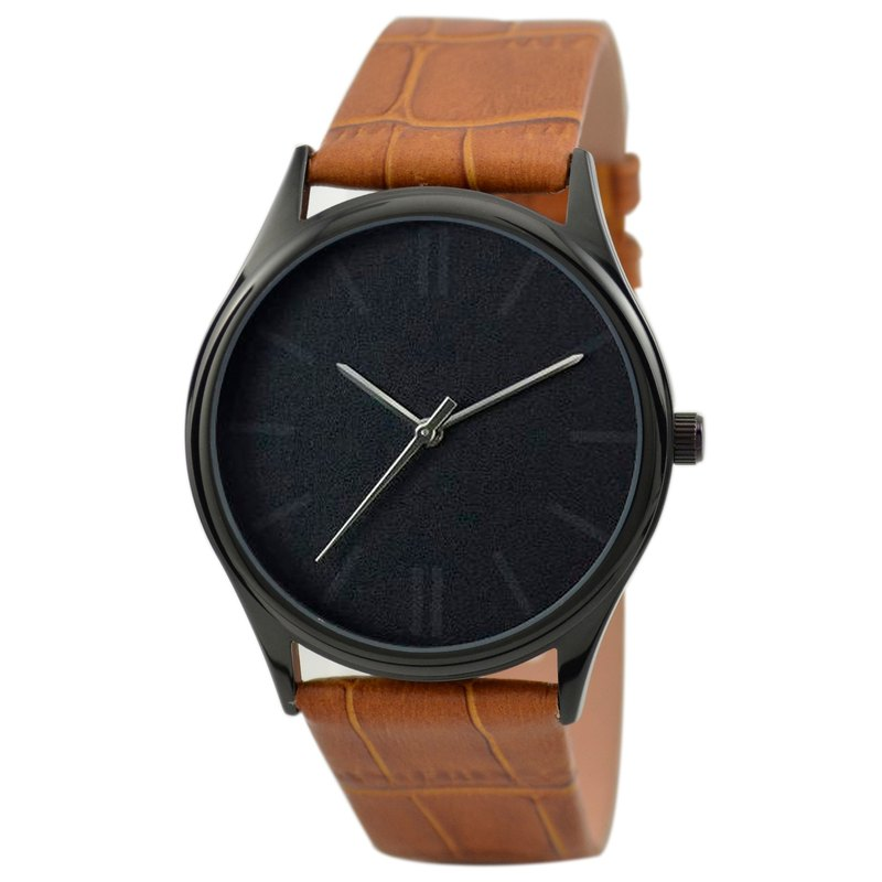 Vaguely Watch (Black) Light Brown Belt - Free shipping worldwide
