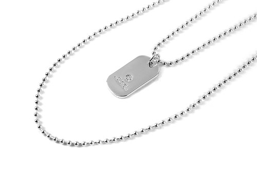 [METALIZE] Logo Dog Tag Necklace thick LOGO military necklace (white gold)