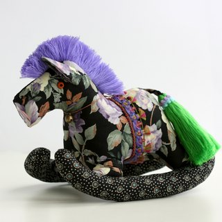 Even shook his hand-sewn Maputo / decorations (large black fabric / purple mane) - Fabric Rocking Horse