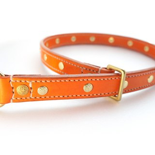 [Handsome hand-made leather collar P word] Double leather collar M