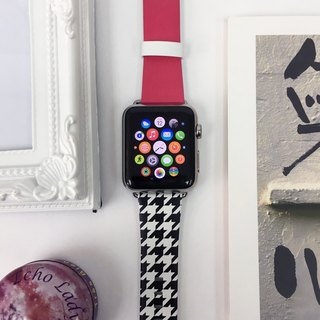 Apple Watch Series 1, Series 2, Series 3 - 粉紅色黑白千烏格圖案 Apple Watch 真皮手錶帶38 / 42mm ,100%香港設計及製作