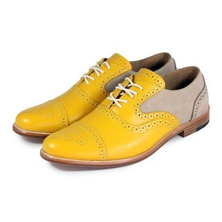 Poppy M1093B Gold Sand leather oxford shoes