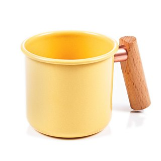 Wooden handle cup 400ml (cream yellow)