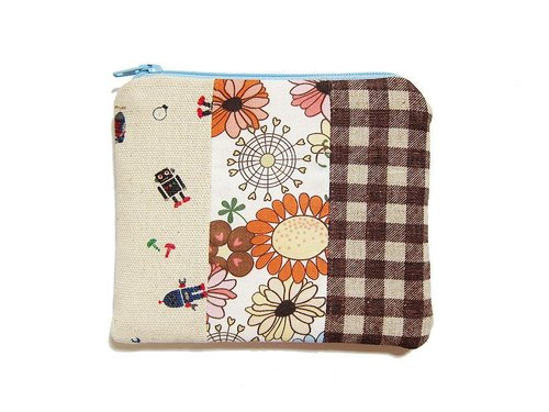 Zipper bag / purse / mobile phone sets Patchwork style --- Spring