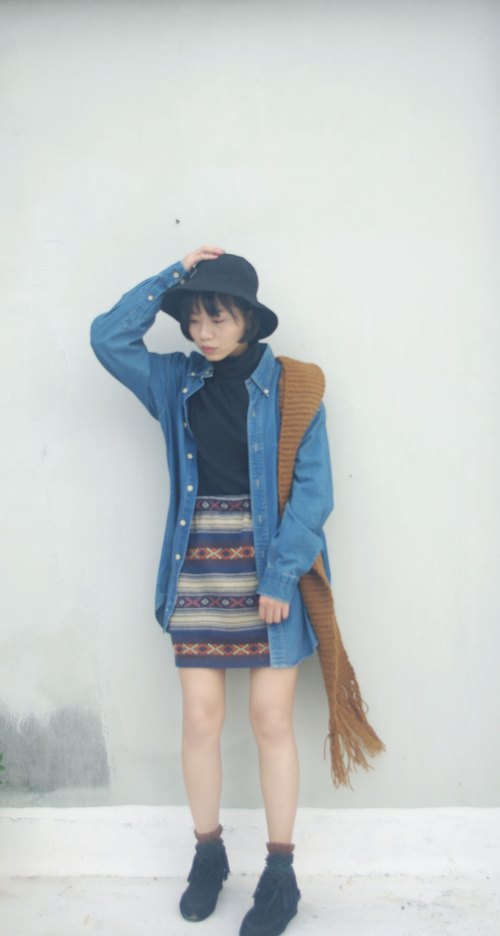 4.5studio- Japan Shimokitazawa vintage treasure hunt - the primary colors blue and red detail oversize denim shirt jacket