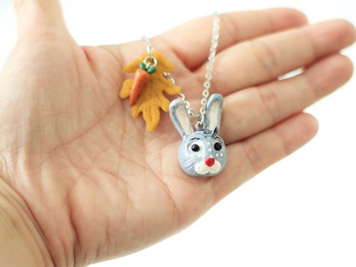 Rabbit & carrot necklace