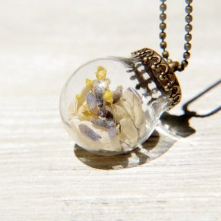 / Forest Department / French glass dried flower necklace short-long chain - Starry + Jasmine + Lavender Forest