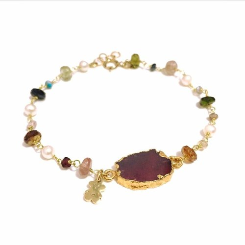 Bezel Garnet with Tourmaline Bracelet