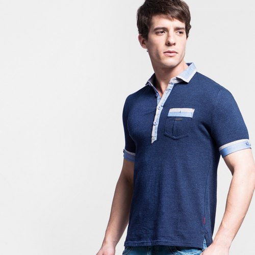 Mens spliced ​​with Article polo shirt - dark blue NOVI