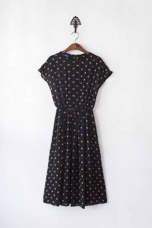 Banana Flyin '| Nippon vintage yellow little short-sleeved black dress