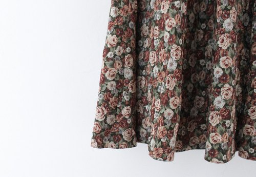 [RE0612SK106] Japanese rich retro vintage skirt full version flowers