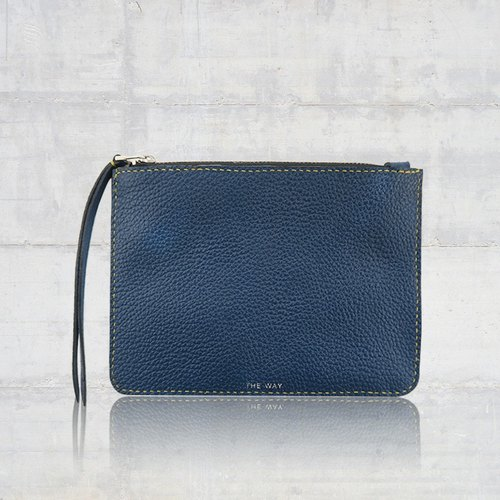 -The Way- zipper storage bag ─ grain leather (Navy)