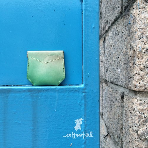 cottontail // handpainted ombre leather coinbag with snap closure