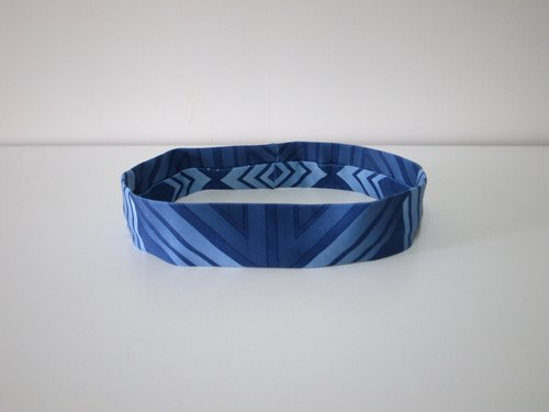 Retro geometric blue elastic hair band